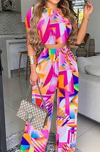 Pink Print T Shirt Wide Leg Pants Fashion Casual Two Piece SXS6060-1