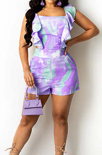 Purple Digital Print Stringy Selvedge Bind Fashion Sexy Romper Shorts SZS8134-2