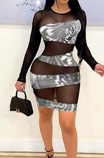 Black Net Yarn Spliced Long Sleeve Sexy Dress YYZ756