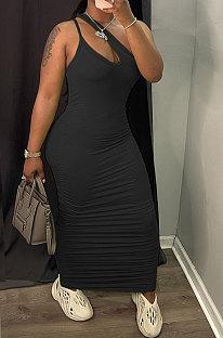 Black Women Side Shirred Detail One Shoulder Pure Color Long Dress AA5254-1
