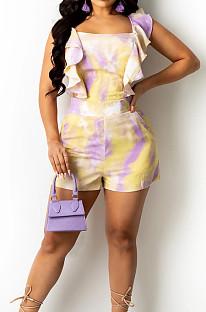 Orange Yellow Digital Print Stringy Selvedge Bind Fashion Sexy Romper Shorts SZS8134-3