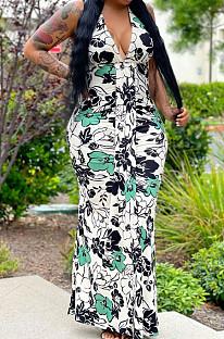 White Green Flower Deep V Neck Sleeveless Print Chest Spliced Long Dress WY6822-4