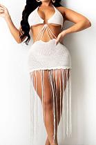 White Knitting Halter Neck Strapless Tassel Beach Dress TRS1166-1