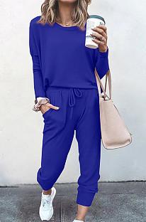Royal Blue Pure Color Long Sleeve T Shirt Long Pants Casual Sports Sets X9320-7