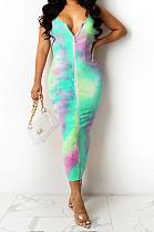 Neon Green Digital Print Zipper Deep V Fashion Sexy Long Dress SZS8135-1