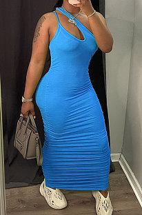 Blue Women Side Shirred Detail One Shoulder Pure Color Long Dress AA5254-5