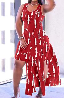 Red Print Sexy Tank Split Fashion Casual Two Piece SXS6062-1