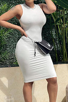 White Pure Color High Elastic Casual Fashion Sleeveless Dress YYZ754-2