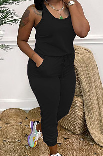 Black Fashion Casual Tank Wide Leg Jumpsuits OH8070-4