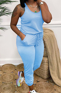 Blue Fashion Casual Tank Wide Leg Jumpsuits OH8070-2
