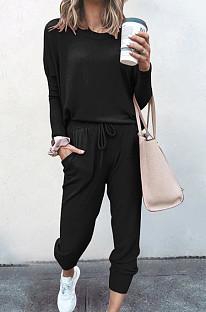 Black Pure Color Long Sleeve T Shirt Long Pants Casual Sports Sets X9320-5