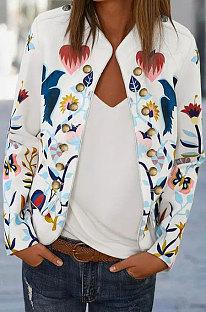 White Trendy Long Sleeve Printing Blouse Coat K8953