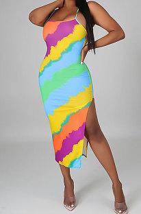 Yellow Women Club Sexy Printing Backless Long Dress KA7182-2