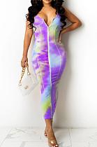 Purple Digital Print Zipper Deep V Fashion Sexy Long Dress SZS8135-2