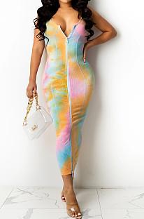 Orange Yellow Digital Print Zipper Deep V Fashion Sexy Long Dress SZS8135-3