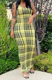 Yellow Print U Neck Slim Fitting Tank Long Dress WY6824-4