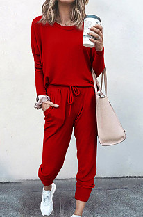 Red Pure Color Long Sleeve T Shirt Long Pants Casual Sports Sets X9320-3
