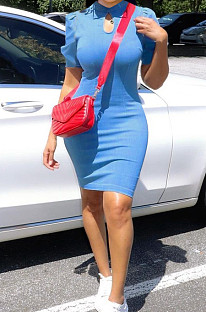 Light Blue High Elastic Copy Jean High Neck Puff Sleeve Dress YYZ861