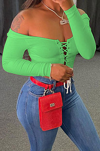 Light Green Autumn Winter Women  Screw Thread Pure Color Long Sleeve T Shirts AD0702-3