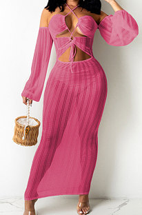 Rose Red Sexy Mesh Pure Color Mid Waist Long Sleeve Halter Neck Long Dress YF9107-5