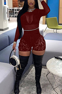 Wine Red Women Sexy Lace Casual Shorts Mesh Top Two-Pieces Q908-1
