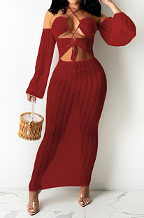 Wine Red Sexy Mesh Pure Color Mid Waist Long Sleeve Halter Neck Long Dress YF9107-3
