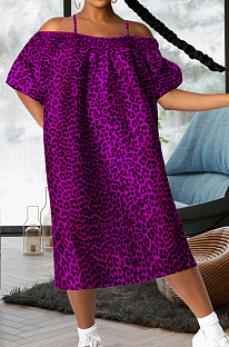 Purple Leopard Print A Word Shoulder Loose Condole Belt Dress YMT6221-2