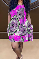 Rose Red Positioning Print Cute Round Neck Sleeveless Loose Dress F88374-4