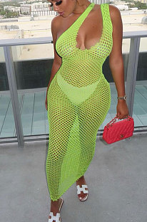 Light Green Hollow Out Sexy Mesh One Shoulder Long Dress Sets With Underwear XT8898-1