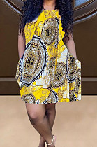 Gold Yellow Positioning Print Cute Round Neck Sleeveless Loose Dress F88374-1