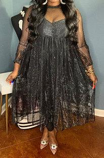 Black Pure Color Lace Mesh Spaghetti High Waist Long Sleeve Midi Dress YF9127-3