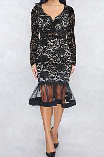 Black Euramerican Women Sexy Small V Neck Long Sleeve Lace Fishtail Skirt's Hemline Perspective Mini Dress Q920-2