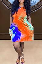 Orange Positioning Print Cute Round Neck Sleeveless Loose Dress F88374-2