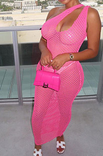 Pink Hollow Out Sexy Mesh One Shoulder Long Dress Sets With Underwear XT8898-2
