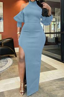 Light Blue Night Club High Collar Off Shoulder Puff Sleeve Side Slit Dress LMM6203-2
