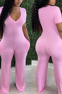Pink Red Deep V Neck Loose Short Sleeve Pure Color Wide Leg Jumpsuits F88372-3