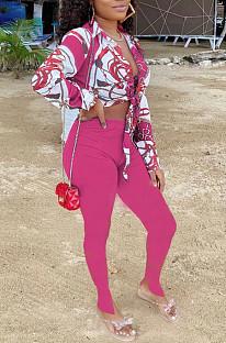 Rose Red Summer Print Lapel Neck Short Sleeve Shirt Slit Long Pants Two Piece YMT6217-1