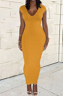 Yellow Women Sexy Pure Color V Neck Back Zipper Split Long Dress XT8897-2