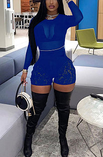 Blue Women Sexy Lace Casual Shorts Mesh Top Two-Pieces Q908-4