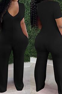 Black Deep V Neck Loose Short Sleeve Pure Color Wide Leg Jumpsuits F88372-2
