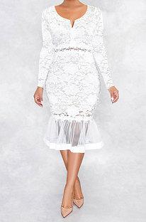 White Euramerican Women Sexy Small V Neck Long Sleeve Lace Fishtail Skirt's Hemline Perspective Mini Dress Q920-1