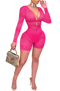 Rose Red Club Sexy Hollow Out Lace Long Sleeve Deep V Neck Mid Waist Romper Shorts Q915-3
