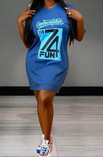 Blue Euramerican Women Letters Printing Loose Short Sleeve Mini Dress XMS9121