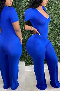 Royal Blue Deep V Neck Loose Short Sleeve Pure Color Wide Leg Jumpsuits F88372-4