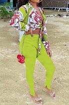 Neon Yellow Summer Print Lapel Neck Short Sleeve Shirt Slit Long Pants Two Piece YMT6217-2