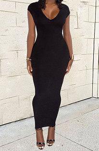 Black Women Sexy Pure Color V Neck Back Zipper Split Long Dress XT8897-3