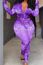 Purple Big Yards Print Turn-Down Collar Ruffle Sleeve Shirt Long Pants Sets F88378-2