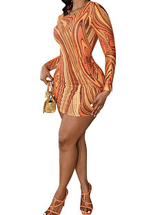 Orange Yellow Euramerican Women Autumn Wave Printing Tight Sexy Long Sleeve Mini Dress Q927-3