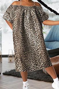 Apricot Leopard Print A Word Shoulder Loose Condole Belt Dress YMT6221-3
