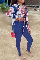 Royal Blue Summer Print Lapel Neck Short Sleeve Shirt Slit Long Pants Two Piece YMT6217-3
